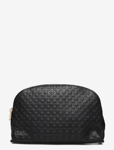 Leather cosmetic bag - necessärer - black embossed