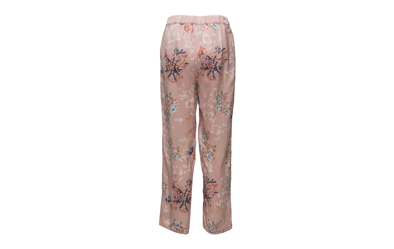 Block Mo Viscose Pink Blossoms By Trousers 100 Ti HBwfUq