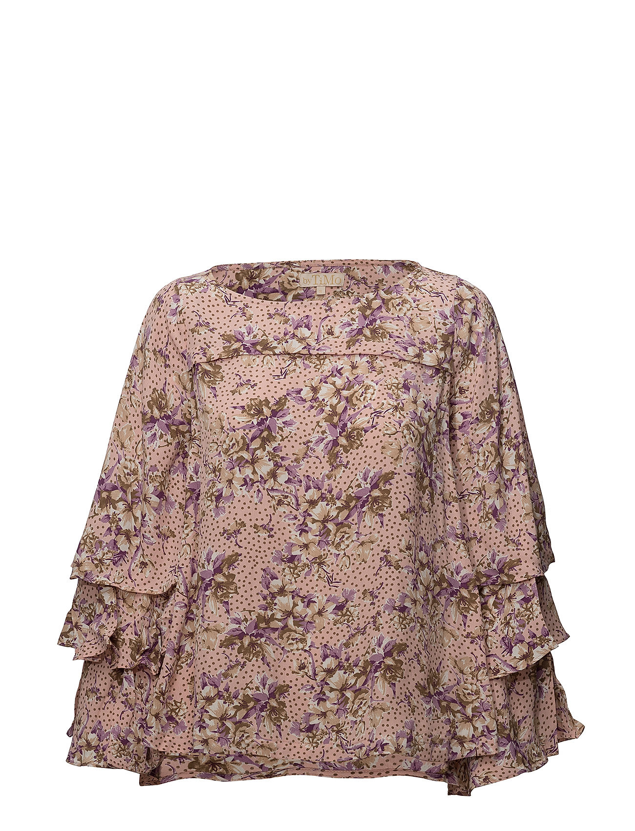 by Ti Mo Printed Flared Blouse - 751 PINK BOUQUET