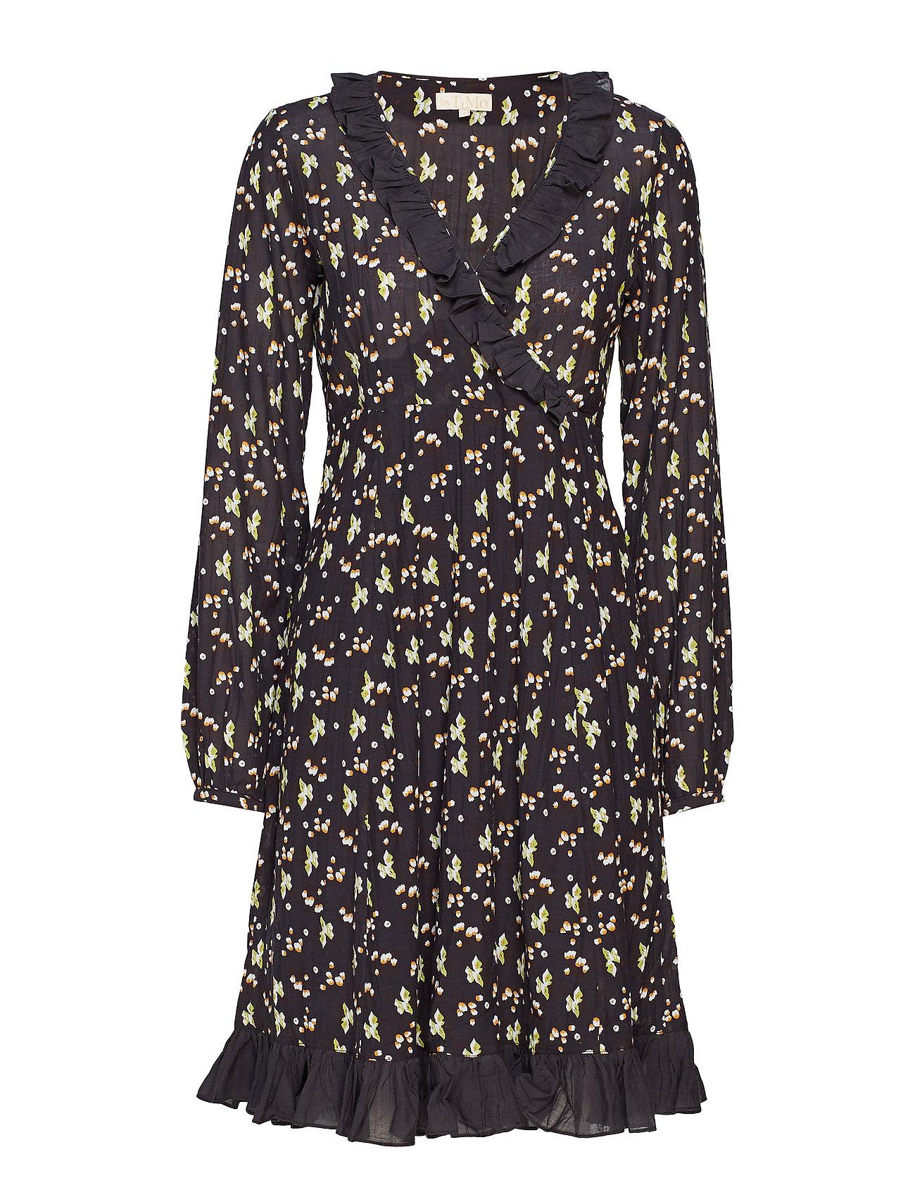 Image of Bohemian Wrap Dress Knælang Kjole Sort By Ti Mo (3406164643)