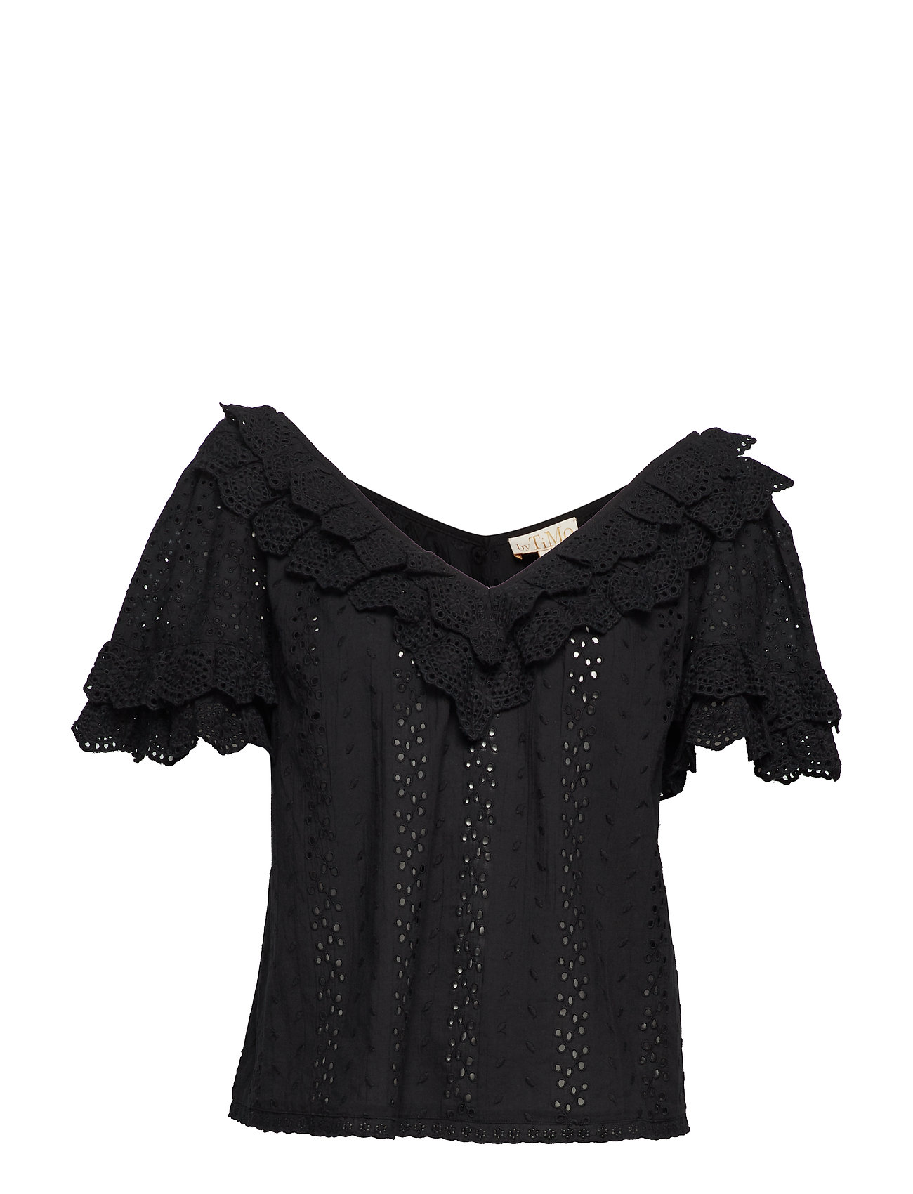 by Ti Mo Broderie Anglaise Top - BLACK