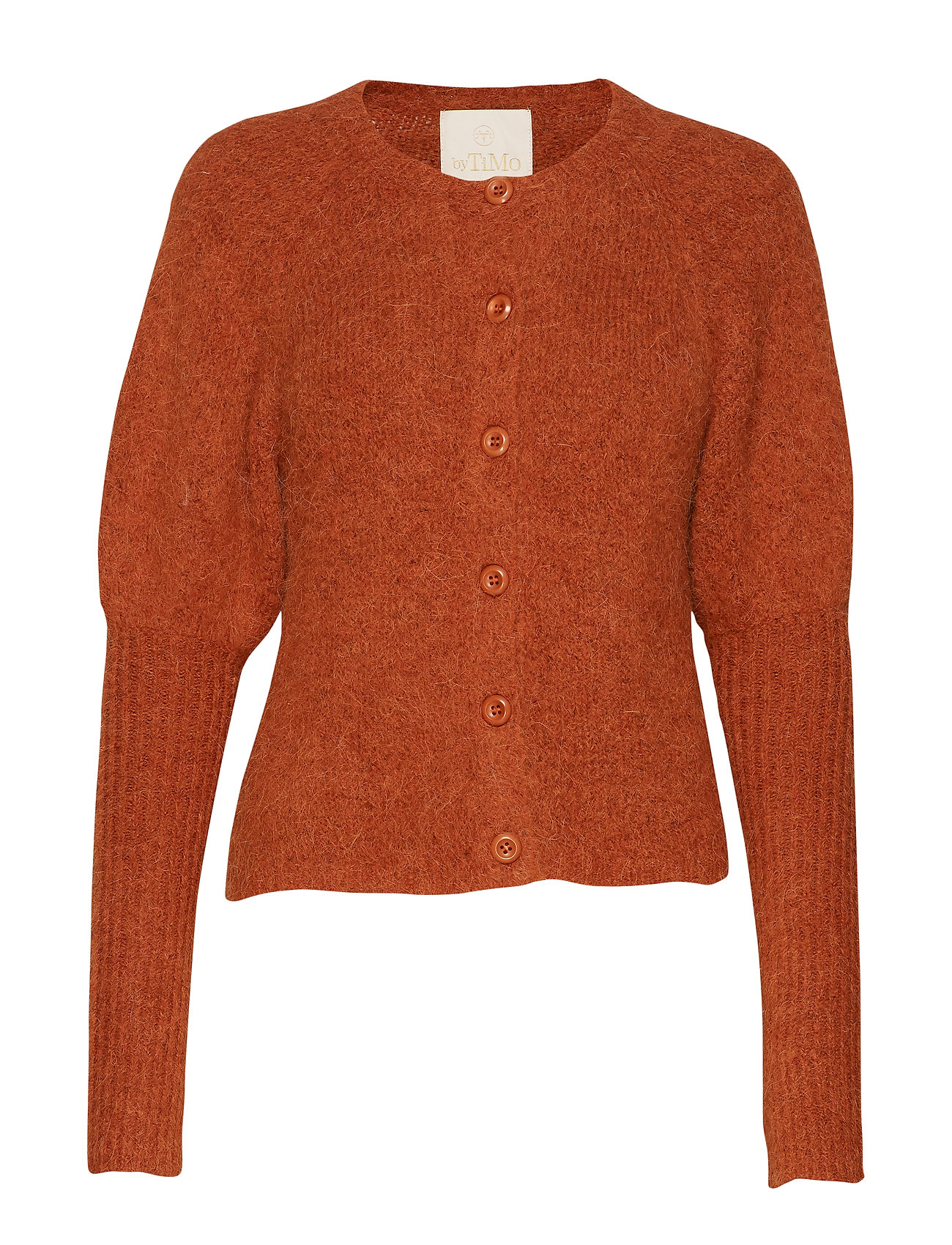 by Ti Mo Hairy Knit Puffed Cardigan - RUST