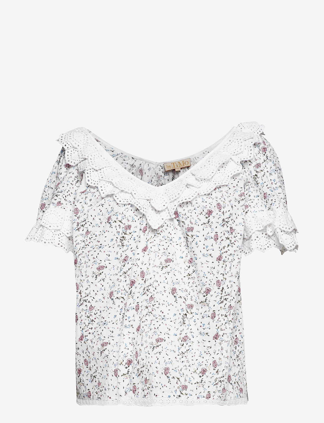 by Ti Mo - Broderie Anglaise Top - short-sleeved blouses - vintage flowers