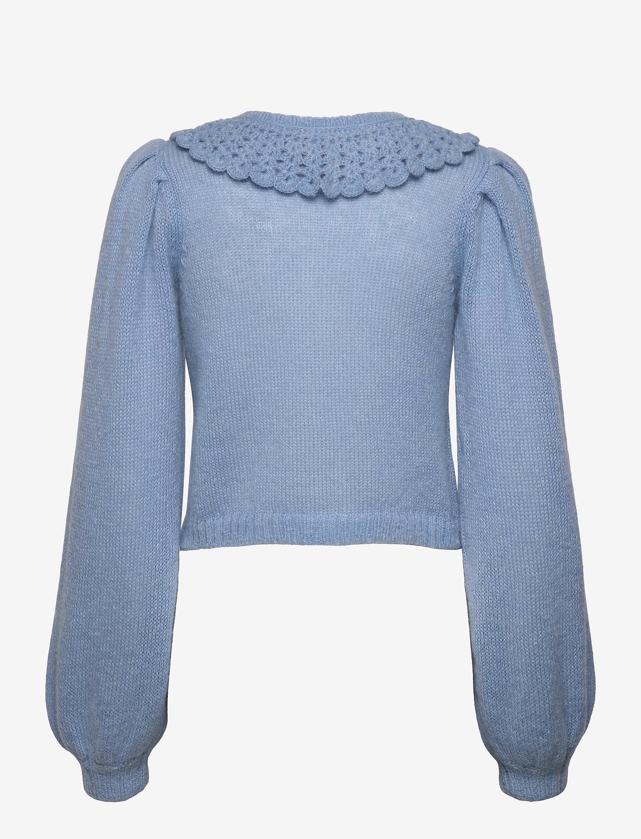 by Ti Mo - Mohair Knit Collar Cardigan - vesten - light blue - 1