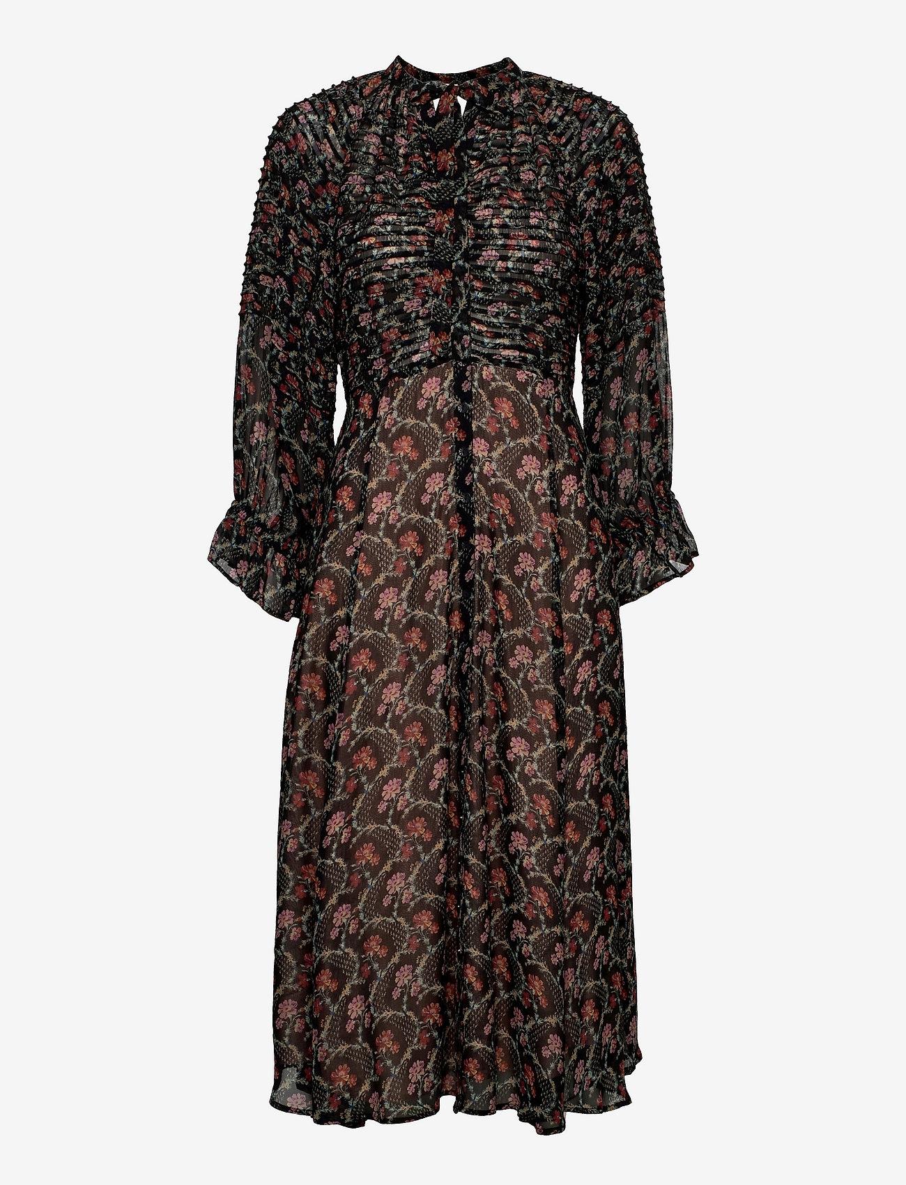 by Ti Mo - Georgette Midi Dress - sommerkjoler - dark wallpaper - 0