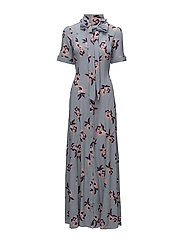 Bowtie Maxi Dress - PURPLE FLOWERS