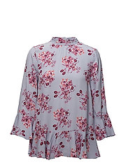 Flounce Tie Blouse - 378 MIDUMMER FLOWERS