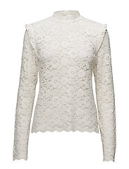 Victorian Lace High Neck Blouse - 002 VINTAGE WHITE
