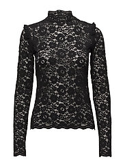 Victorian Lace High Neck Blouse - 099 BLACK