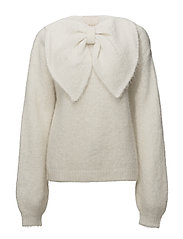 Hairy Knit Bow Jumper - 002 VINTAGE WHITE