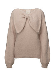 Hairy Knit Bow Jumper - 044 POWDER