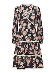 Japanese Boho Wrap Dress - 774 BLACK ROSES