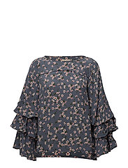 Printed Flared Blouse - 753 DAFFODILS