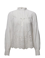 Broderie Anglaise Bow Blouse - 001 WHITE