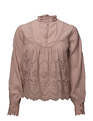 Broderie Anglaise Bow Blouse - 135 DUSTY PINK
