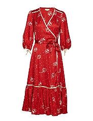 Contrast Wrap Dress - 801 ROSALEEN