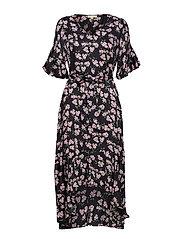 Shiny Assymetric Dress - APPLE BLOSSOM