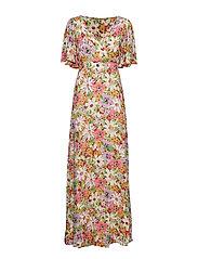 Delicate Semi Wrap Dress - SHEER FLOWERS