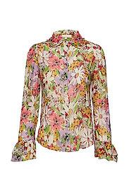 Delicate Semi Shirt - SHEER FLOWERS