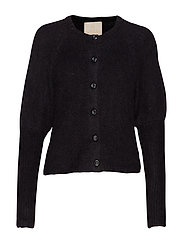 Hairy Knit Puffed Cardigan - BLACK