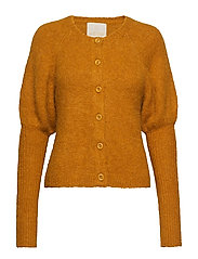 Hairy Knit Puffed Cardigan - GOLDEN MUSTARD