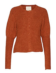 Hairy Knit Puffed Cardigan - RUST