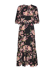 Summer Midi Dress - FLORA BLACK