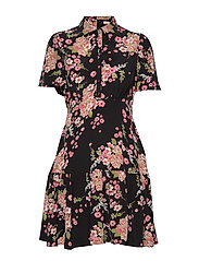 Summer Mini Shirt Dress - FLORA BLACK