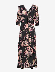 by Ti Mo - Summer Rouching Gown - maxiklänningar - flora black - 1