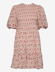 Smocking Puffed Mini Dress - LIGHT WALLPAPER