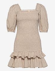 by Ti Mo - Checks Mini Smocking Dress - zomerjurken - beige checks - 0