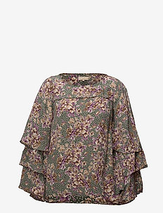 Printed Flared Blouse - 750 GREEN BOUQUET