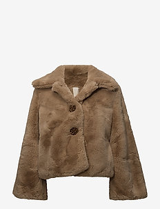 Faux Fur Jacket - sztuczne futro - 236 camel