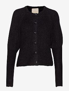 Hairy Knit Puffed Cardigan - BLACK