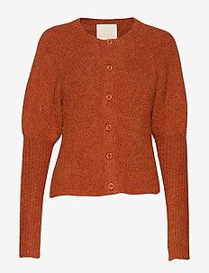 Hairy Knit Puffed Cardigan - RUST