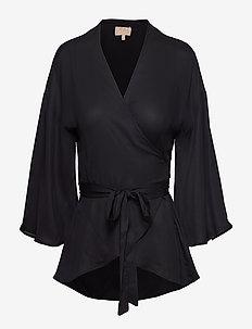 Vintage Drape Kimono Top - BLACK