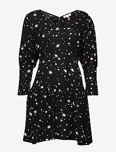 Vintage Drape Flounce Mini Dress - STARS