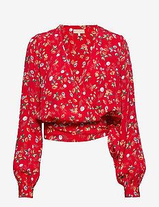 Wrap Blouse - RED GARDEN