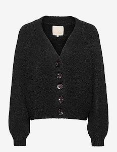 Hairy Knit Cardigan - koftor - black