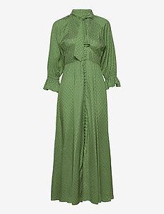 Delicate Button Down Gown - skjortklänningar - green dots