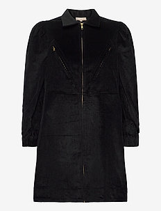 Corduroy mini dress - skjortekjoler - black