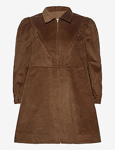 Corduroy mini dress - skjortklänningar - chocolate