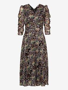Soft Organza Ruching Midi Dress - midiklänningar - camouflage