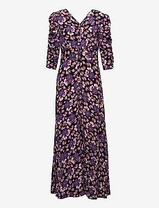 Pre Spring Rouch Dress - maxiklänningar - purple flowers