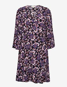 Pre Spring Kimono Dress - sommerkjoler - purple flowers
