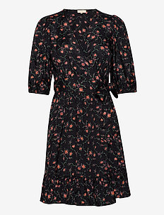 Delicate Wrap Dress - zomerjurken - rose field black