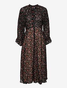 Georgette Midi Dress - hverdagskjoler - dark wallpaper