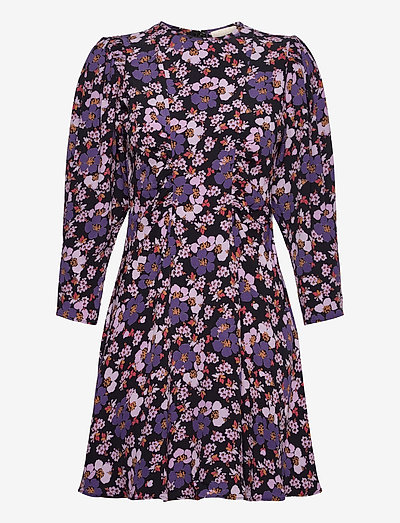 Pre Spring Mini Dress - summer dresses - purple flowers