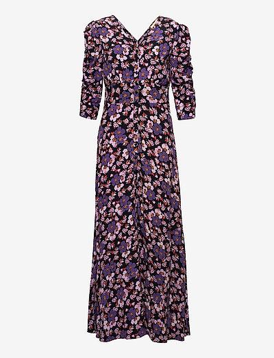 Pre Spring Rouch Dress - evening dresses - purple flowers