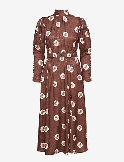 Jacquard Midi Dress - summer dresses - roses